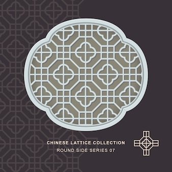 Chiński krata maswerk okienny okrągły rama boczna krzyża kwadratowego
