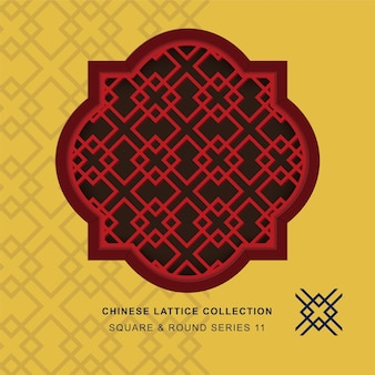 Chiński krata maswerk okna kwadratowa okrągła rama diamentowego krzyża