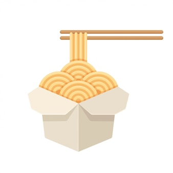 Chiński makaron w białym papierowym pudełku
