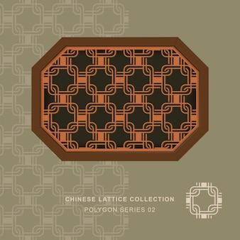 Chiński maswerk kraty okna wielokąt rama kwadratu.