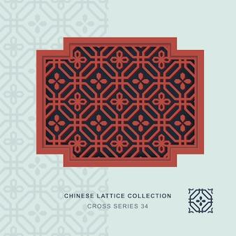 Chiński maswerk okienny krzyż rama ośmiokąta kwiat