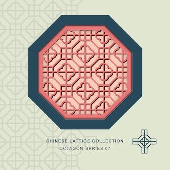 Chiński maswerk okienny okienny ośmiokąt rama krzyż kwadratowy