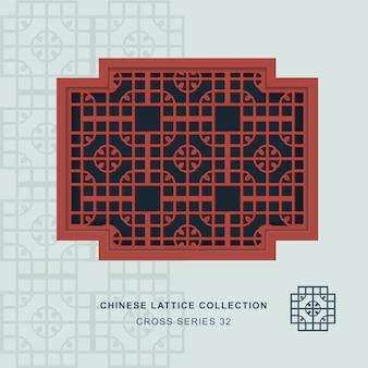 Chiński maswerk okienny rama krzyża z okrągłym rogiem