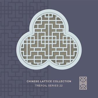 Chiński maswerk okienny ramka koniczyny o kwadratowej geometrii