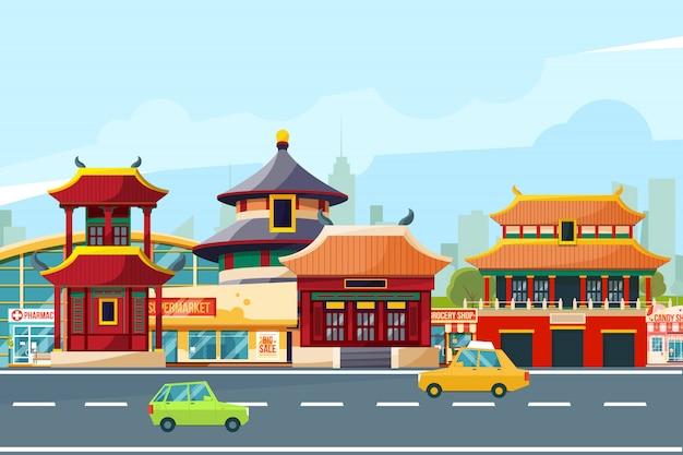 Chiński miejski krajobraz z tradycyjnymi budynkami. chinatown w stylu kreskówki. ilustracje wektorowe