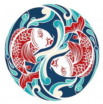 Chiński motyw z rybami