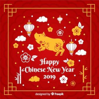 Chiński nowy rok 2019 tło