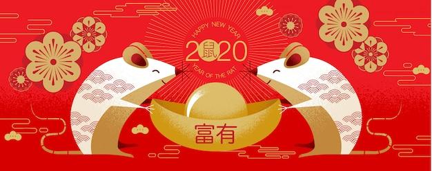 Chiński nowy rok 2020 szczęśliwego nowego roku pozdrowienia year of the rat
