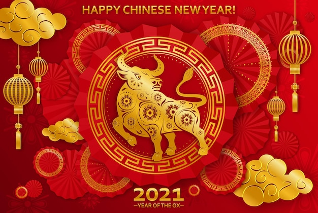 Chiński nowy rok 2021 rok wołu, czerwony wół cięty z papieru, kwiat. wół cięty z papieru, kwiaty, chmurki w kolorach czerwonym i złotym
