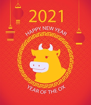 Chiński nowy rok 2021 rok wołu plakat z głową byka w kręgu chińskiego wzoru i papierową latarnią na czerwonym tle