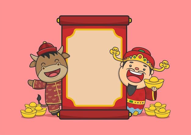Chiński nowy rok fortuny bóg i wół i zwój