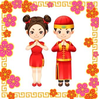 Chiński nowy rok i chiński dzieciak