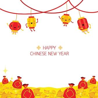 Chiński nowy rok kreskówka udekoruj ramkę, tradycyjne obchody, chiny, szczęśliwego chińskiego nowego roku