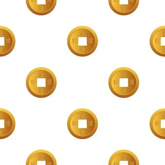 Chiński nowy rok lucky moneta seamess wzór tła dla karty z pozdrowieniami