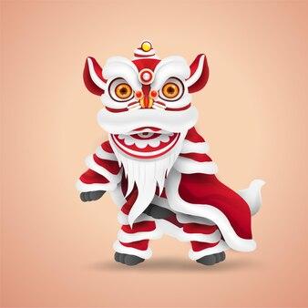 Chiński nowy rok lwa taniec. szczęśliwa i urocza postać z kreskówki. odosobniony.