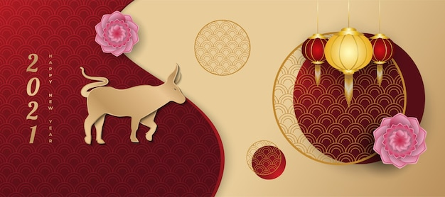 Chiński nowy rok powitanie transparent ozdobiony złotymi lampionami wołu i kwiatami w stylu cięcia papieru na abstrakcyjnym tle