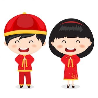 Chiński nowy rok pozdrowienia- dzieci.