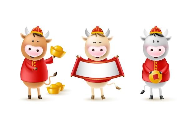 Chiński nowy rok słodkie byki. śmieszne postacie w kreskówkowym stylu 3d. rok zodiaku wołu. szczęśliwe byki ze złotą monetą, sztabką i przewijaniem.