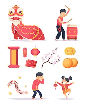 Chiński nowy rok. smocza papierowa latarnia z petardami i postacie szczęśliwych dzieciaków z okazji świętowania