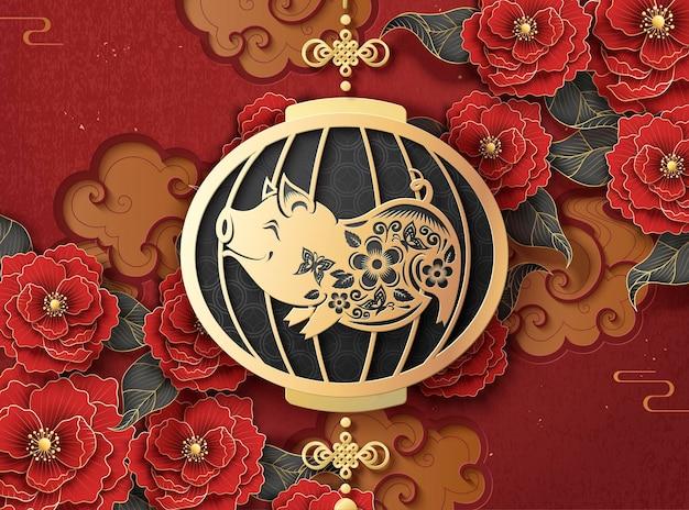 Chiński nowy rok szablon z wiszącymi lampionami świnki na tle piwonii