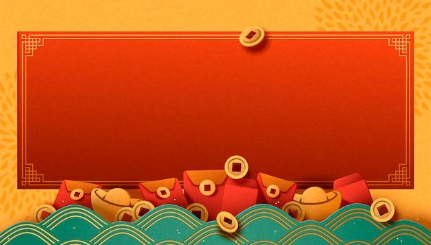 Chiński nowy rok sztandar ze złotymi sztabkami i czerwonymi kopertami w stylu sztuki papieru