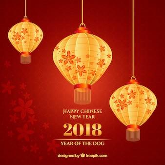 Chiński nowy rok tło z błyszczącymi lampionami