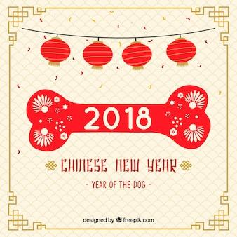 Chiński nowy rok tło z kości