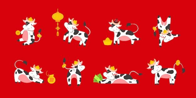 Chiński nowy rok zodiaku biały wół 2021 - wektor zestaw byków lub krów, płaskie zwierząt kreskówek na kartki świąteczne