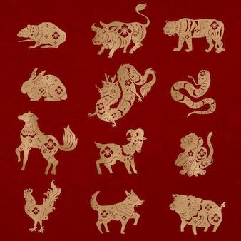 Chiński nowy rok zwierzęta wektor zestaw naklejek złoty znak zodiaku zwierząt