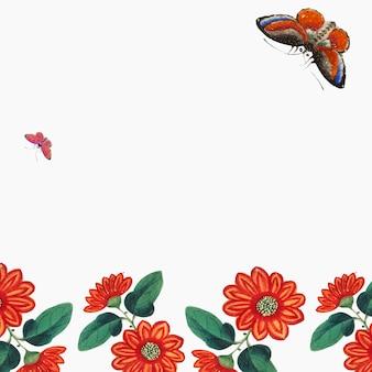 Chiński obraz z tapetą z kwiatami i motylami