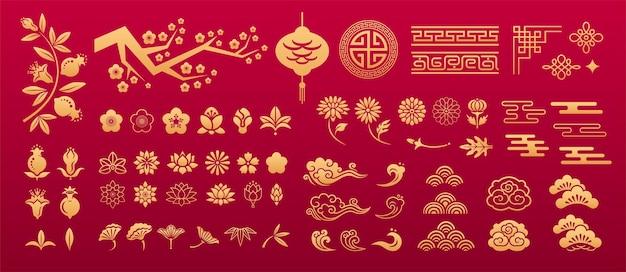Chiński orientalny wzór azjatyckie tradycyjne ozdoby dekoracyjne elementy kwiatowe sakura lotus