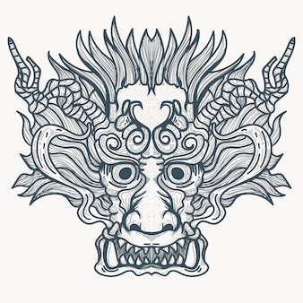Chiński smok demoniczny tatuaż