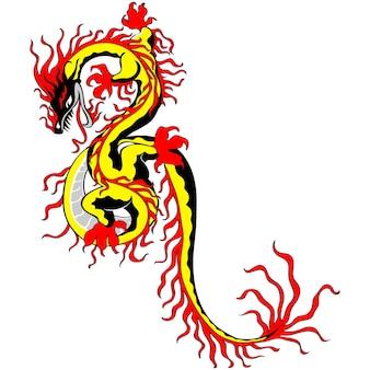 Chiński smok ognia złoto na białym tle