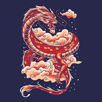 Chiński smok z chmurą ilustracją