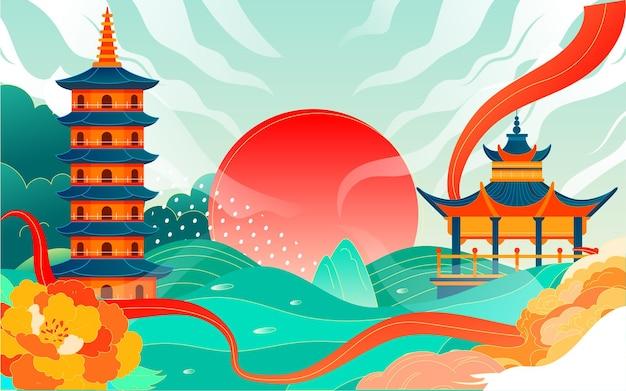 Chiński styl starożytnej architektury miasta malownicze miejsce ilustracja turystyki punkt orientacyjny changsha