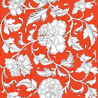 Chiński tło z kwiatami