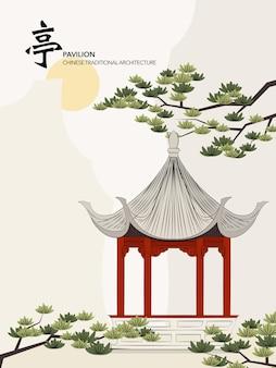 Chiński tradycyjny architektura budynek pawilon sosny słońca