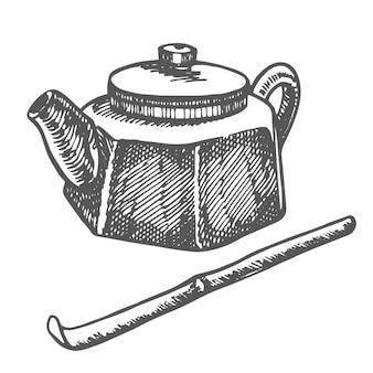 Chiński tradycyjny czajniczek graficzny handdrawn ilustracji wektorowych