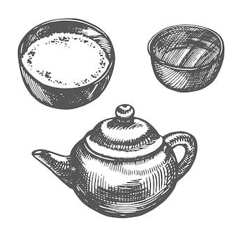 Chiński tradycyjny czajniczek z herbacianą miseczką graficzny handdrawn ilustracji wektorowych