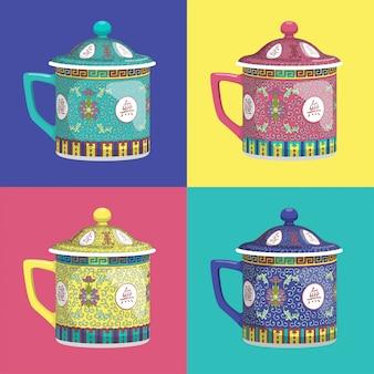 Chiński tradycyjny herbaciany kubek z pokrywkowym wektorem