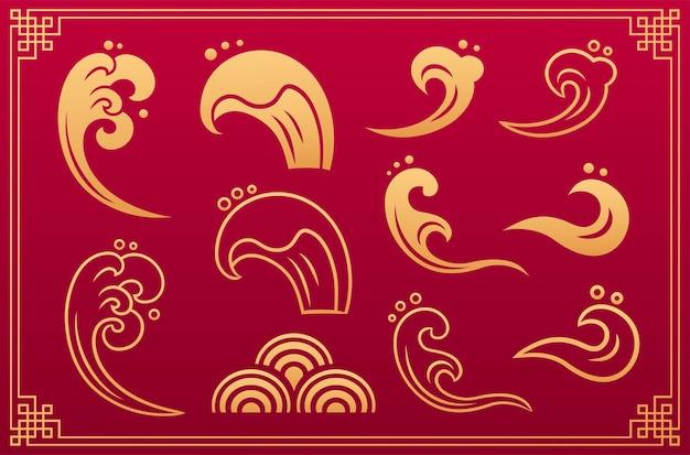 Chiński wzór. orientalne azjatyckie złote elementy dekoracyjne do wody water