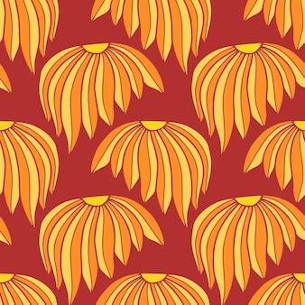 Chiński wzór w kolorach czerwonym i żółtym do projektowania tekstyliów. chryzantema bezszwowe wektor wzór.