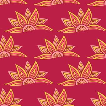 Chiński wzór w kolorach czerwonym i żółtym do projektowania tekstyliów. kwiatowy wzór.