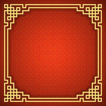 Chiński wzór z złotej ramie. czerwony i złoty chiński tradycyjny ornament tło.
