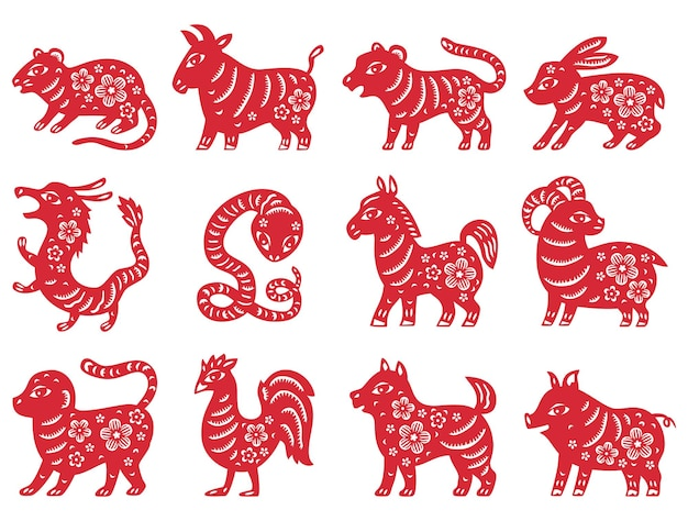 Chiński znak zodiaku nowy rok podpisuje tradycyjne chińskie wycięcie papieru