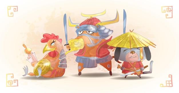 Chiński zodiak zwierzęta kreskówka zestaw pies byk kogut na białym tle kreskówka ręcznie rysowane ilustracji wektorowych. postacie wół, kogut, pies.