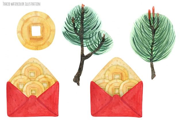 Chińskie czerwone koperty