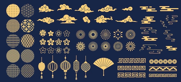 Chińskie elementy. azjatycki nowy rok złote wzory dekoracyjne i lampiony, kwiaty, chmury i ozdoby w tradycyjnym stylu orientalnym wektor zestaw. azjatyckie chińskie elementy orientalne do wakacyjnej ilustracji