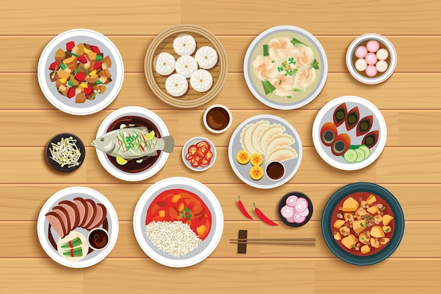 Chińskie jedzenie na drewniane tła widok z góry.