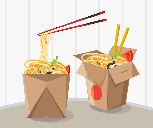 Chińskie jedzenie na wynos pudełko, zabrać makaron pole